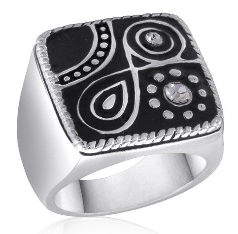 DR103-6 [Size 6-10] - Ring, Black/Silver Abstract