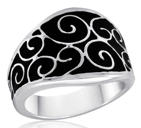 DR103-7 [Size 6-10] - Ring, Black Lace Scroll