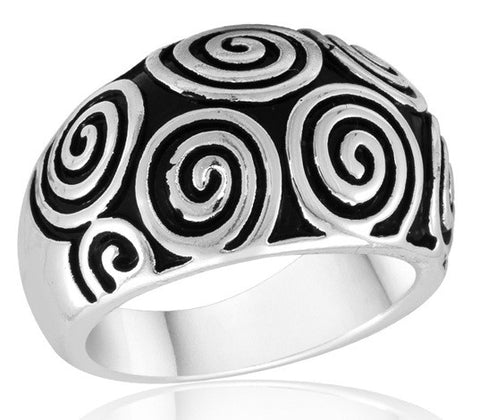 DR104-1 [Size 6-10] - Ring, Silver Antique Curl