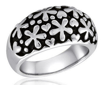 DR106-3 [Size 6-10] - Ring,  Daisy, Antique Silver