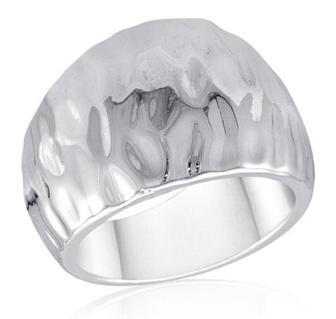 DR106-6 [Size 6-10] - Ring,  Hammered Silver