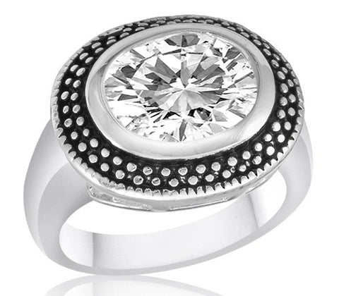 DR51-6 [Size 6-10] - Ring,  Clear CZ Oval