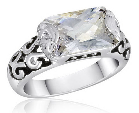 DR51-7 [Size 6-10] - Ring,  Rectangle CZ,