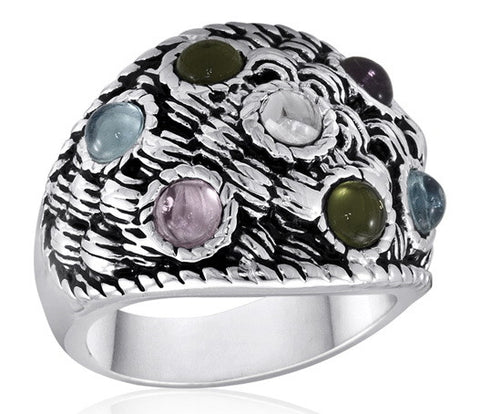 DR53-5 [Size 6-10] - Ring, Multi-Colour Glass