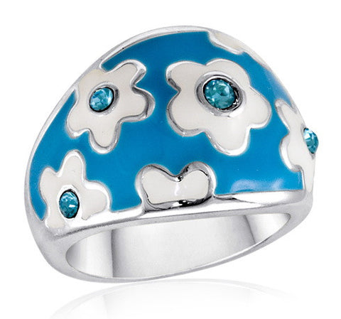 DR55-8 [Size 6-10] - Ring, Bright Blue Daisy