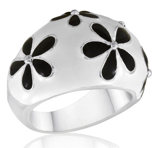 DR56-7 [Size 6-10] - Ring, White w/Black Daisy