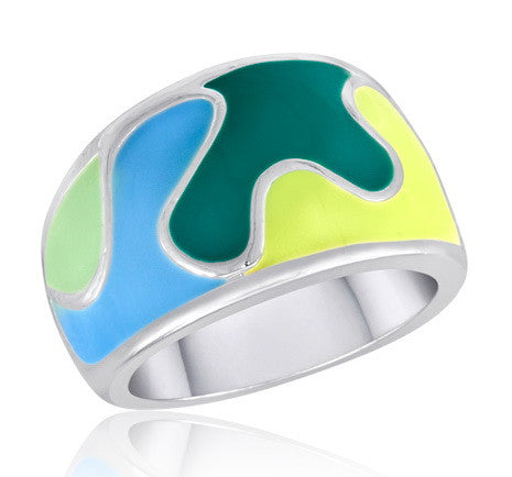 DR83-9 [Size 6-10] - Ring, Multi-Colour Abstract