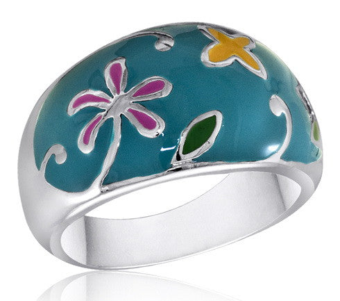 DR84-7 [Size 6-10] - Ring, Turquoise Flower Garden