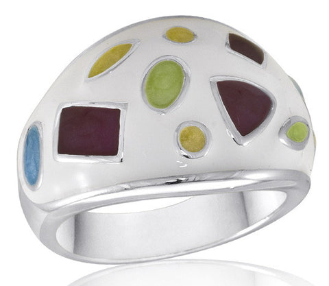 DR84-9 [Size 6-10] - Ring, White w/Multi-Shapes