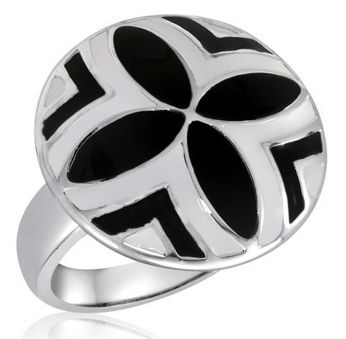 DR85-10 [Size 6-10] - Ring, Black/White Abstract Flower