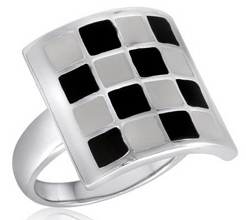 DR85-8 [Size 6-10] - Ring, Black/White Checkerboard