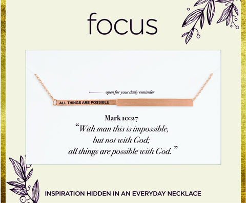 "FOC 27 ""All Things Are Possible"" Rose Gold Focus Necklace"
