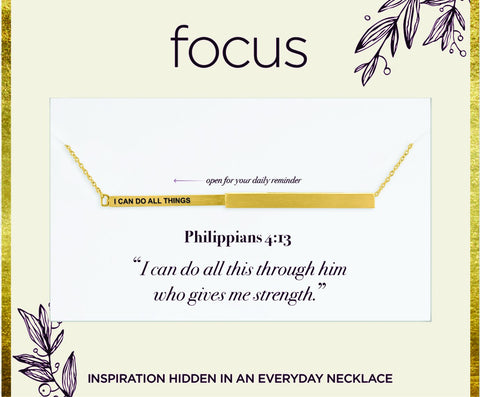 "FOC 28 ""I Can Do All Things"" Gold Focus Necklace"