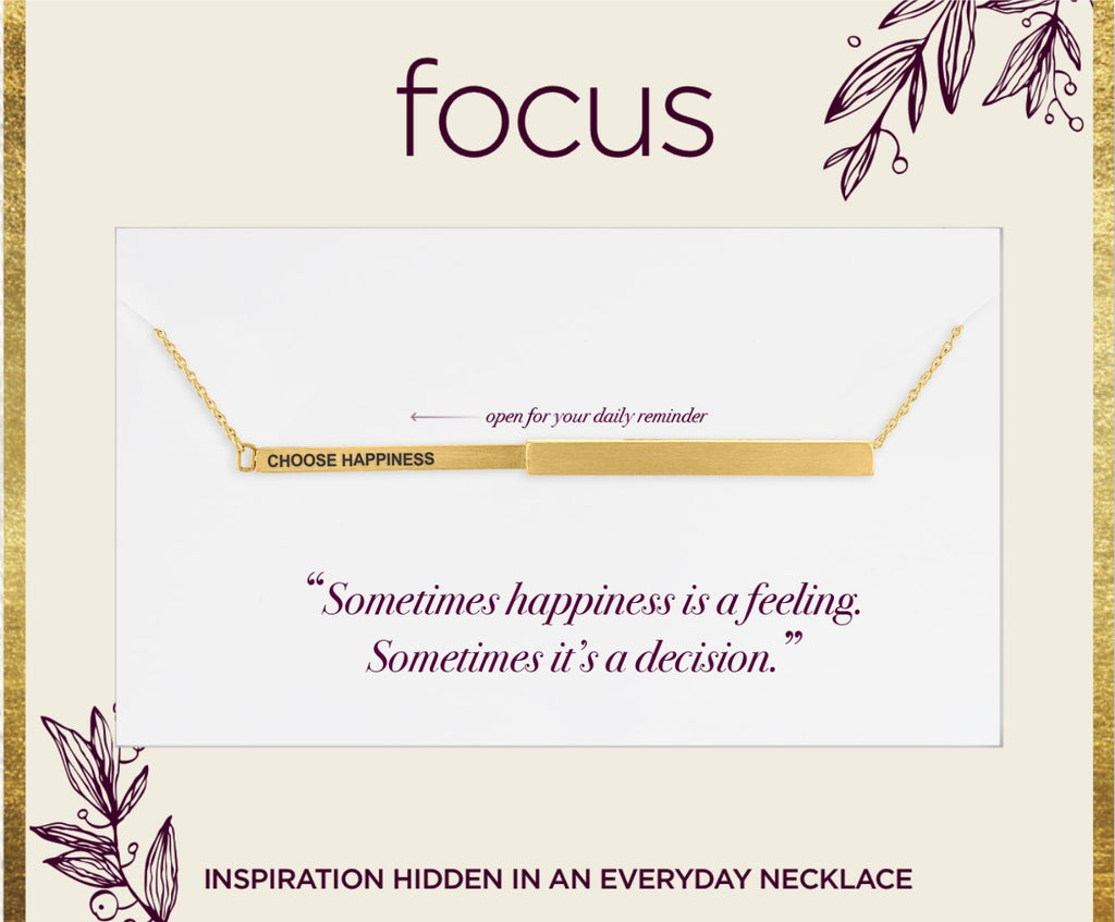 "FOC04 ""Choose Happiness"" Gold Focus Necklace"