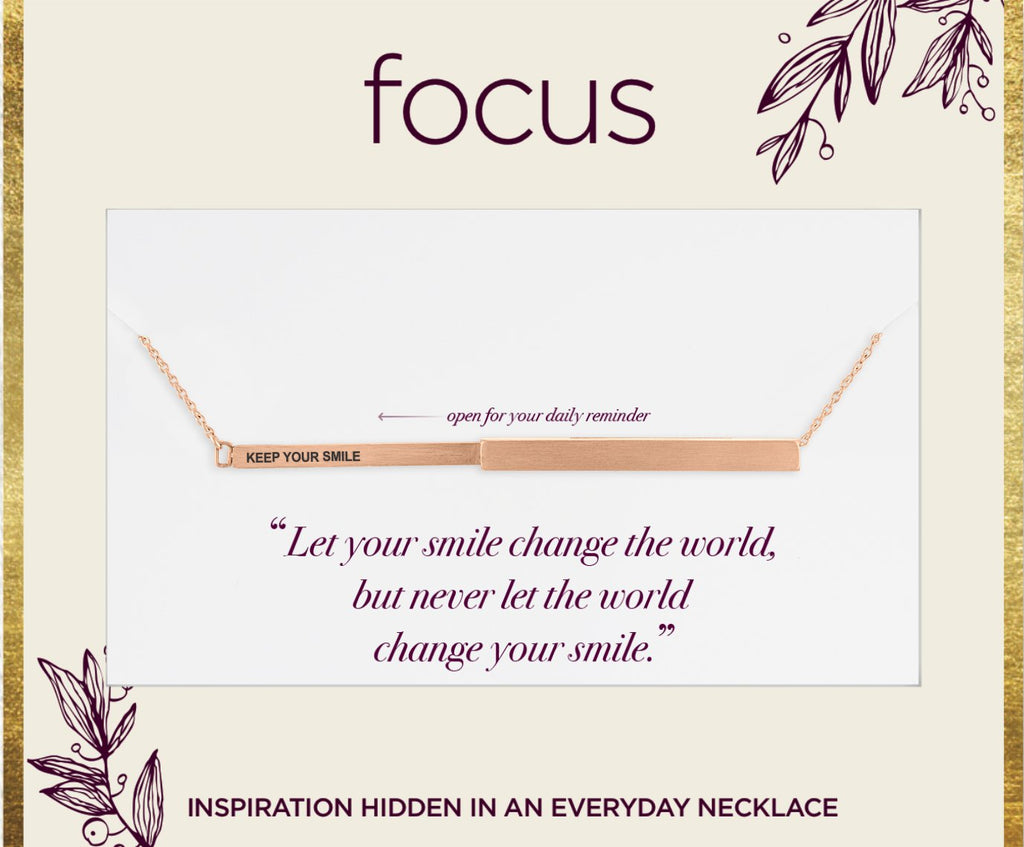 "FOC08 ""Keep Your Smile"" Rose Gold Focus Necklace"