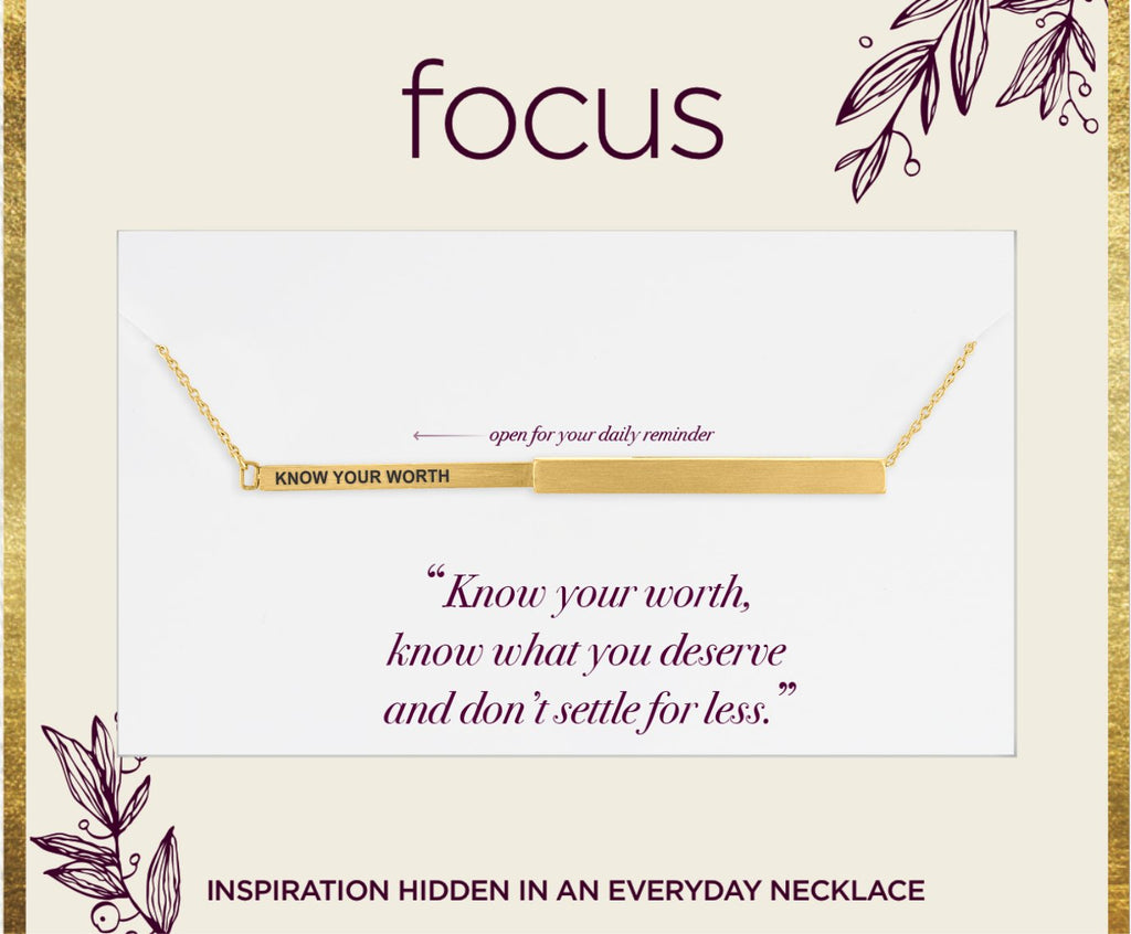 "FOC09 ""Know Your Worth"" Gold Focus Necklace"