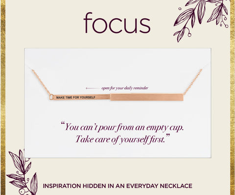 "FOC15 ""Make Time For Yourself"" Rose Gold Focus Necklace"
