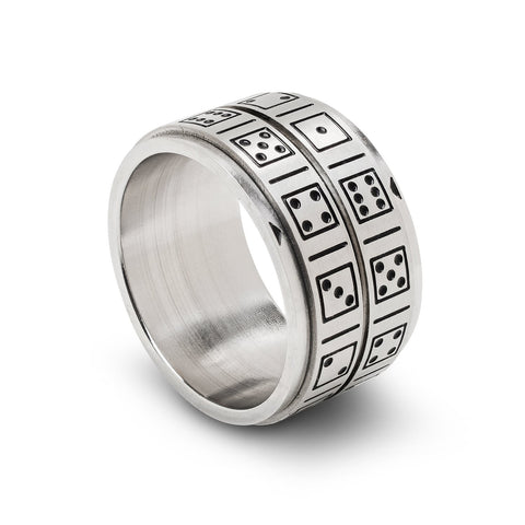 Lucky Spinner Ring, Dice, Size 12