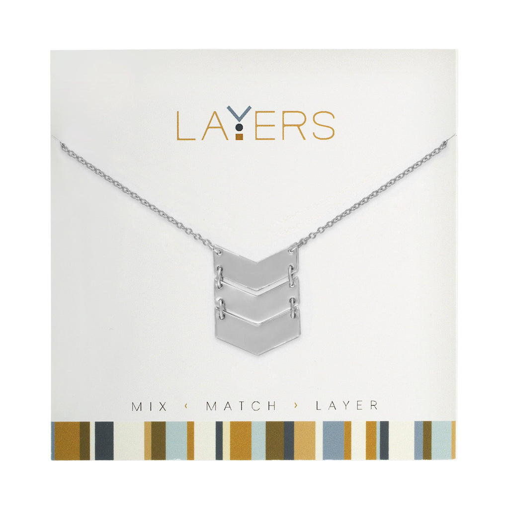 LAY535S  SILVER TRIO CHEVRON NECK