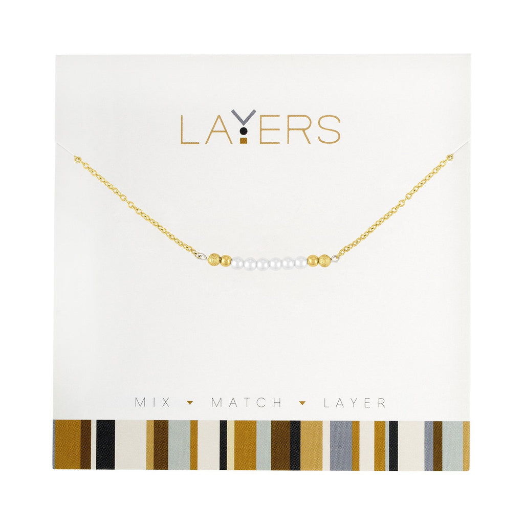 Gold Pearl Bar Layers Necklace