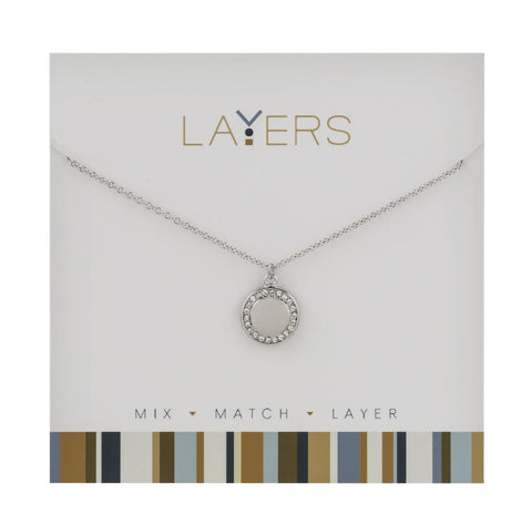 LAY547S Silver Round CZ Disc Layers Necklace