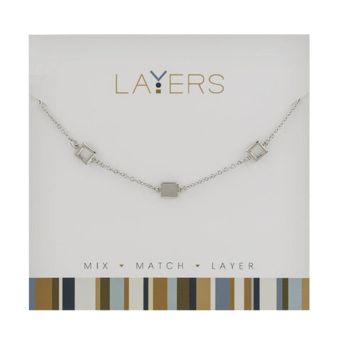 LAY549S Silver Trio Square Layers Necklace