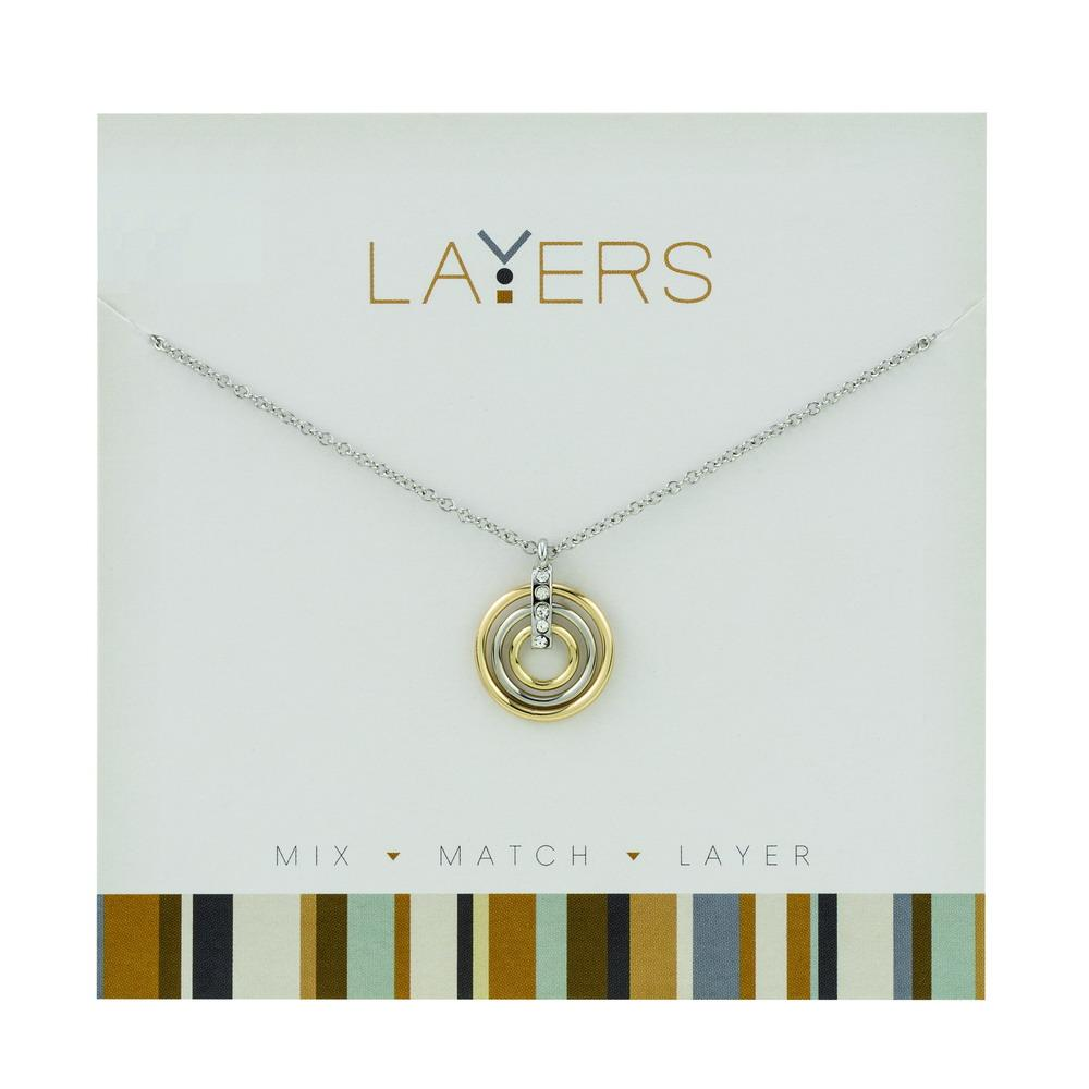 LAY551S Silver and Gold Trio Ring Layers Necklace