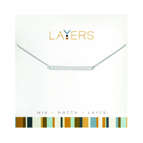LAY553S Silver CZ Bar Layers Necklace