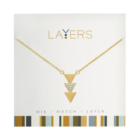 Gold Trio Triangle Layers Necklace