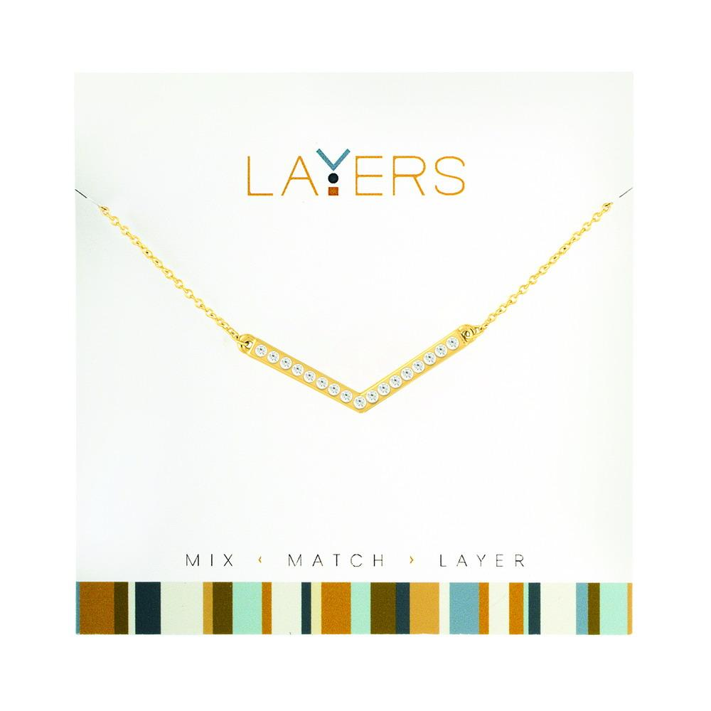 "Lay105G Gold CZ Wide ""V"" Layers Necklace"