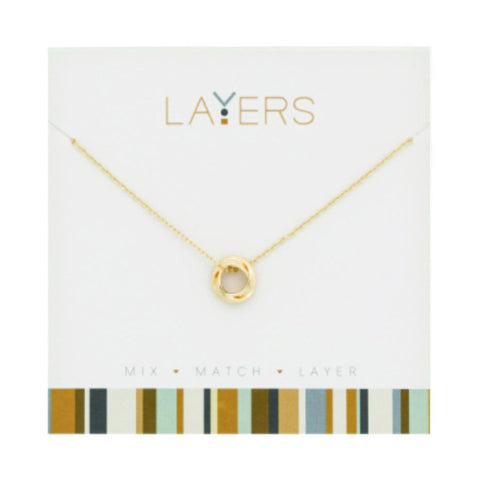 LAY83G Gold Three Circle Layers Necklace