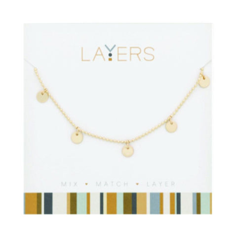 LAY85G Gold Flat Disc Layers Necklace