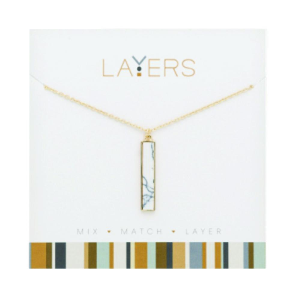 LAY87G Gold Rectangle Granite Layers Necklace