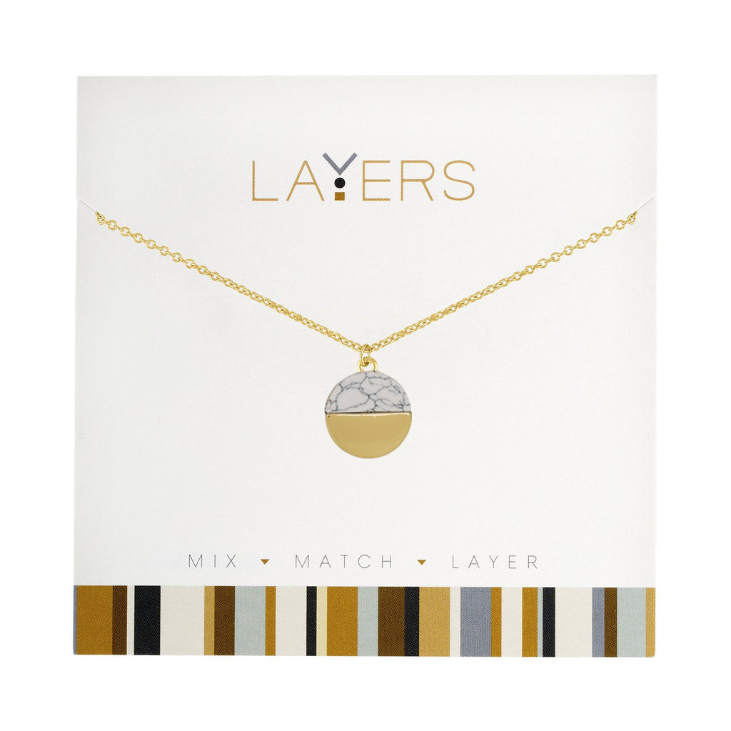 LAY91G Gold Circle Granite Layers Necklace