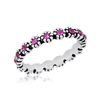 STK13-10 [Size 6-9] - Stack Ring, Pink Flower Stack Ring