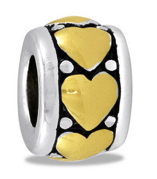 Bead, Heart, Gold/Silver, Large, Set/2