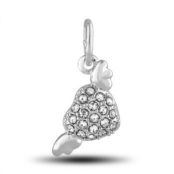 Charm, CZ Heart w/ Wings, Set/2