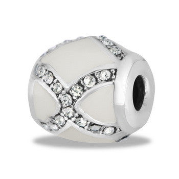 Spacer, Diamond, Decorative, White, Set/2