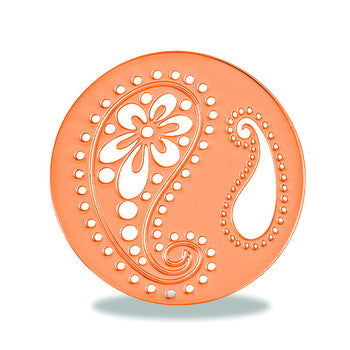 Disk, Rose Gold Paisley 2 Round, Set/2