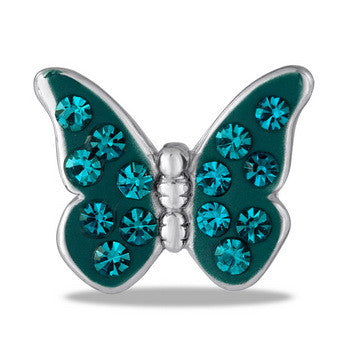 Large Charm, Turquoise CZ Butterfly, Set/2