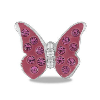 Large Charm, Pink CZ Butterfly, Set/2