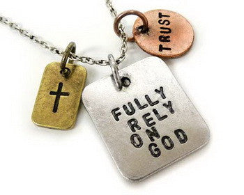 Carded Chain Necklace, Faith, Fully Rely on God