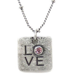 Carded Petite Chain Necklace, Love