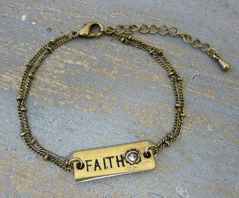 Carded Petite Chain Bracelet, Faith