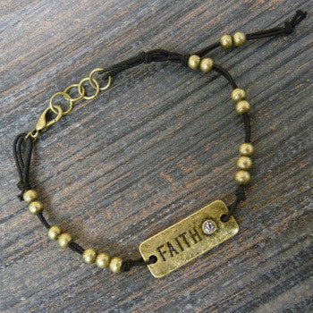 Carded Petite Corded Bracelet, Faith