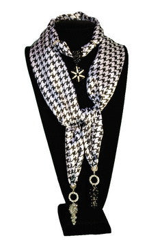 SCARF,  ANIMAL PRINTS, SATIN BLACK WITH BLING