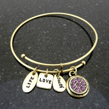 Bracelet, Birthstone, February, Gold