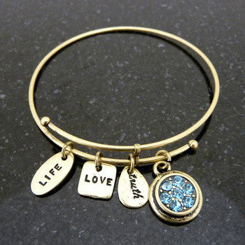 Bracelet, Birthstone, March, Gold
