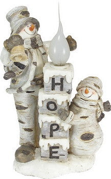 "Birch Bark Snowman Light ""Hope"" (electric)"