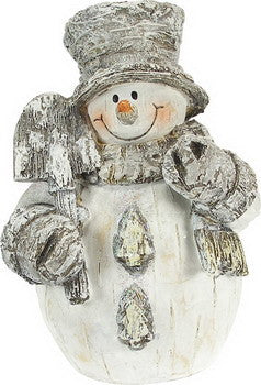 Birch Bark Snowman Figurine